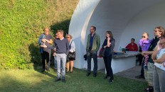 "<p>Introduction by Rüdiger Andorfer. Presentation of the performative intervention ""Sea of Tranquility"" (in the footsteps of the Apollo 11 mission) by Nicole Six / Paul Petritsch – Heritage Day 2019 at ""The Pit"", Breitenbrunn, Burgenland, Austria (photo: felix kofler) – archive peter noever</p>"