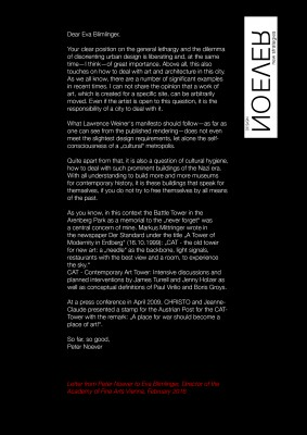 "<p>Peter Noever's statement in response to the open letter by the director of the Academy of Fine Arts Vienna, Eva Blimlinger</p><div id=""_mcePaste"" class=""mcePaste"" style=""position: absolute; left: -10000px; top: 0px; width: 1px; height: 1px; overflow: hidden;"">Peter Noever's statement in response to the open letter by the director of the Academy of Fine Arts Vienna</div>"