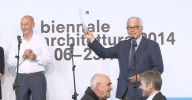 <p>Rem Koolhaas and Paolo Baratta. Peter Noever and Josef Ostermayer, federal minister of the Republic of Austria for arts & culture at the Biennale award ceremony, 8 June 2014 (video still) – archive peter noever</p>
