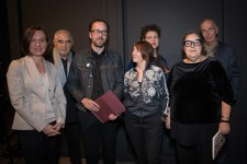 <p><span>Birgit Jürgenssen Award, assembly hall Academy of Fine Arts Vienna, 4 May 2017 – </span><span>left to right: Olga Okunev, Peter Noever, Johannes Gierlinger, Constanze Ruhm, Andrea B. Braidt, Eva Blimlinger, Hubert Winter (</span><span>Photo: eSeL.at – Lorenz Seidler)</span></p>