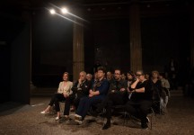 <p>Birgit Jürgenssen Award, assembly hall Academy of Fine Arts Vienna, 4 May 2017 – left to right: Olga Okunev, Peter Noever, Andrea B. Braidt, Johannes Gierlinger, Eva Blimlinger (Photo: eSeL.at – Lorenz Seidler)</p>