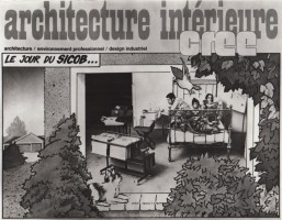 "<p>cover of ""architecture intérieure / cree"", paris – ""office work in bed"" by peter noever, 1974 — © peter noever / photo by brian spence</p>"