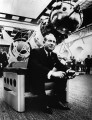 <p>Kosmonaut Alexej Leonow at the UNISPACE I exhibition in Vienna (1968) on the Galaxy I chair designed by Walter Pichler — archive peter noever</p>